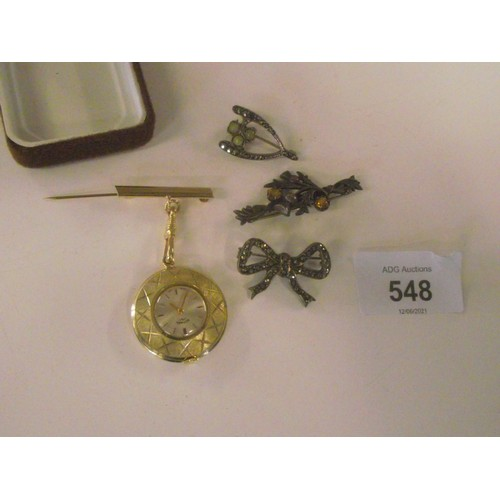 548 - Sterling silver stamped irish harp brooch, plus rotary yellow metal fob watch, and 2 other white met...