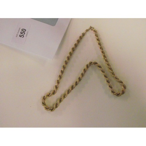550 - 9ct gold rope necklace 12.3g