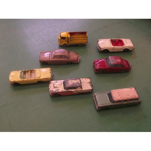 378 - Some very early Matchbox/Lesney American cars + British Jaguars & Coka cola truck.