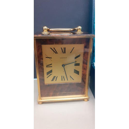 555a - Stunning Jaeger lecoultre carraigke clock in working order with original box model on box matches cl...