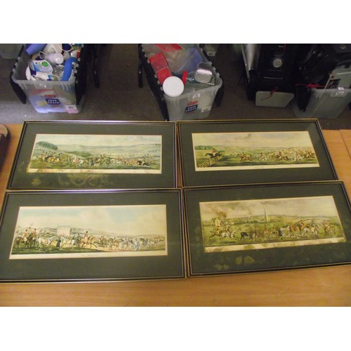 149 - 4 vintage Hunt Prints has some foxing. approx 21 x 10 inches.
