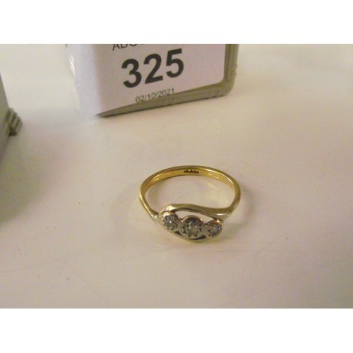 325 - 9 ct gold with white stone ring size L weight 2.37g