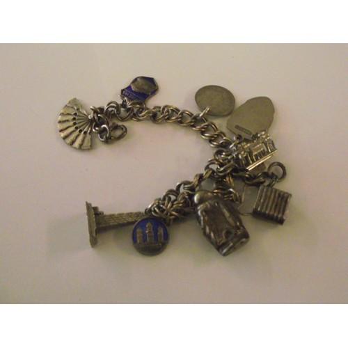308 - Silver charm bracelet
