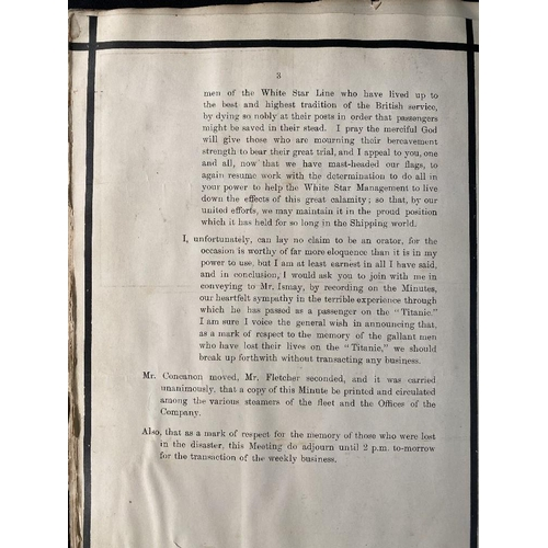 282 - R.M.S. TITANIC/WHITE STAR LINE TITANIC BOARD MEETING MINUTES:  An extremely important archive person...