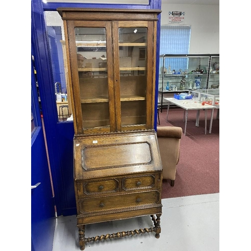 1 - 20th cent. Oak bureau bookcase with glazed top and turned stretchers....