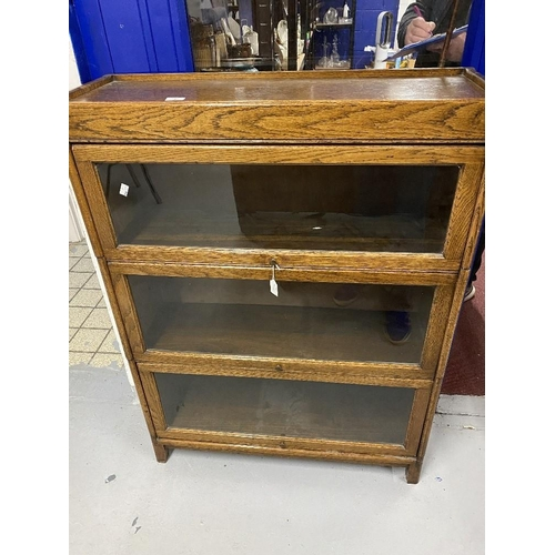 2 - 20th cent. Oak Globe Wernecke style glass fronted bookcase with three shelves. Height 46ins. Width 3...