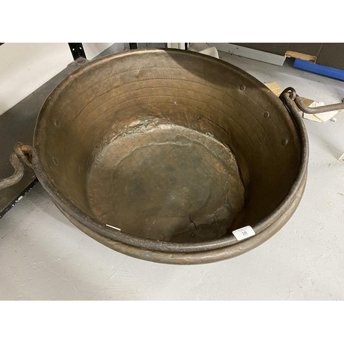 26 - 19th cent. Circular brass large cooking pot, dia. 25ins. with iron handle 26ins....