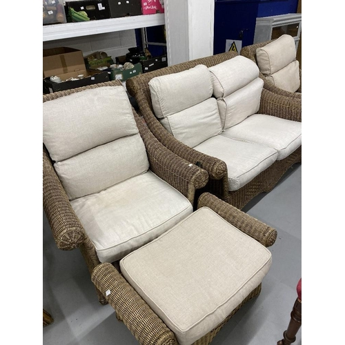 29 - 21st cent. Wicker conservatory set. Sofa, armchairs, footstools, dining table and four chairs....