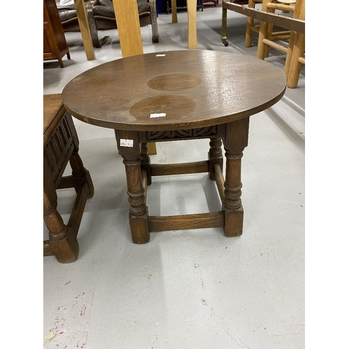 32 - 20th cent. Oak side table designed and made by Christiane Karg of Bergen, turned supports and Scandi...