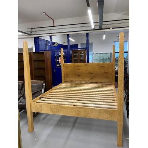 37 - Art & Design: Ben Barnett bespoke Pippy oak four poster super king size bed.