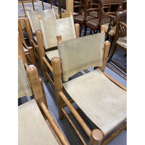 40 - Art & Design: Set of six leather and pine dining chairs purchased from Paul Smith's furniture shop i...