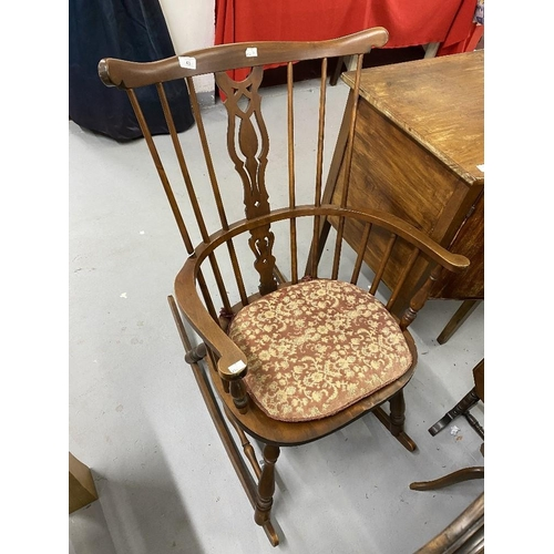 43 - 20th cent. Beech Windsor style stick back rocking chair and an early 20th cent. English beech Berger...