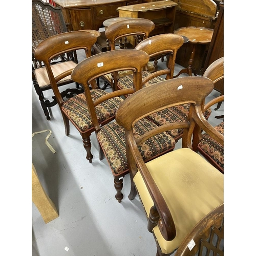 46 - Early 19th cent. Mahogany bar back set of six dining chairs, including one carver....