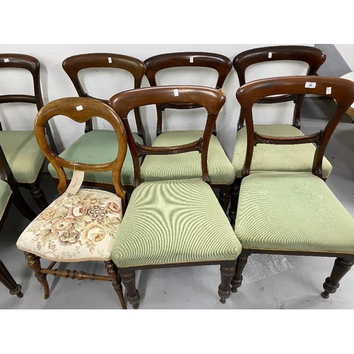 49 - 19th cent. Mahogany dining chairs (5) bar back, turned legs with green upholstery, plus one other....