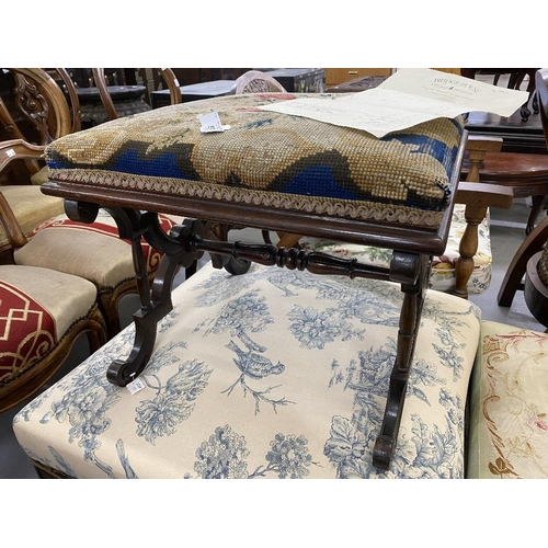 57 - Early 19th cent. Rosewood cabriole cross stretcher footstool with floral needlepoint upholstery....