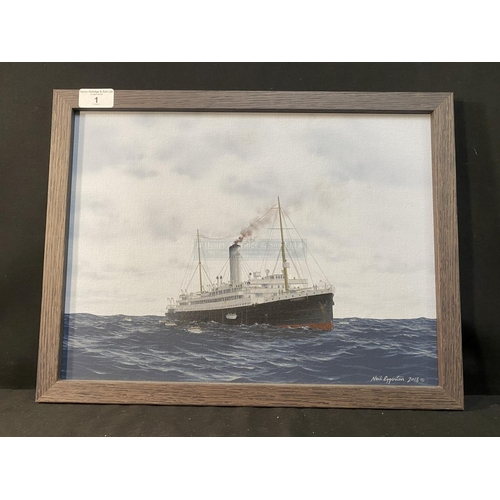 1 - WHITE STAR LINE: Original work by Neil Egginton of White Star's first Laurentic. She is slowly sinki...