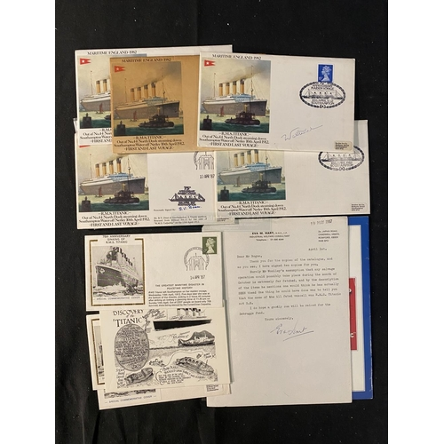13 - R.M.S. TITANIC: First day covers and other ephemera, some signed by survivors Edith Haisman and Bert...