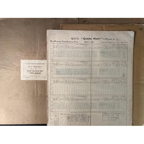 15A - CUNARD: R.M.S. Queen Mary boiler/engine room books for voyages 286, 294, 431, 286 and 291. (5)
