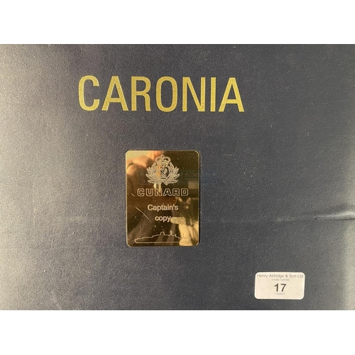 17 - OCEAN LINER: Unusual hard bound Officers instruction book labelled 'Caronia' with label inscribed 'C...