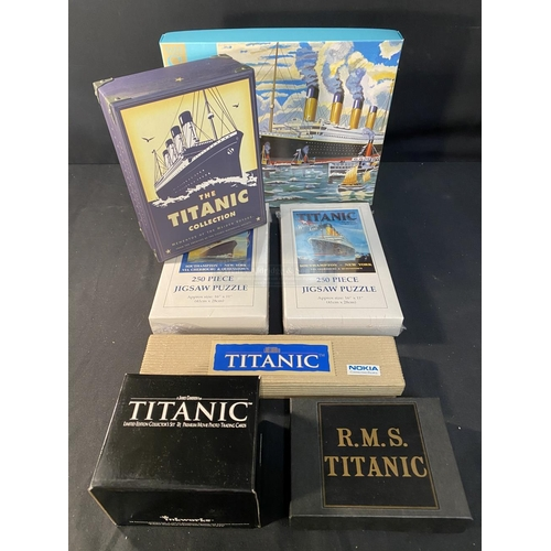 19 - R.M.S. TITANIC: Modern collectables to include collectors cards, movie watch, jigsaw, etc.