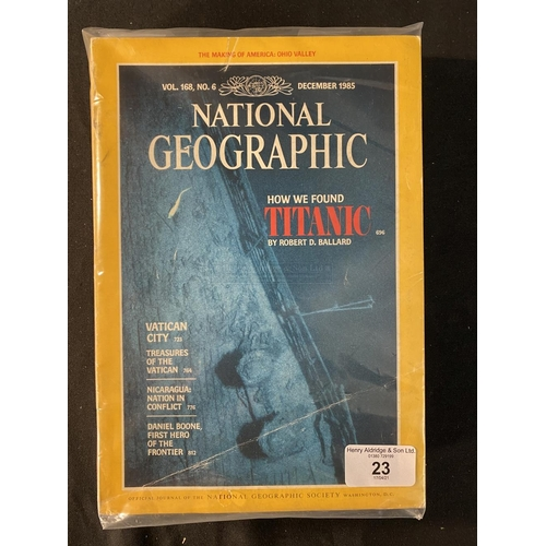 23 - R.M.S. TITANIC: Set of seven National Geographic magazines - issues regarding the discovery of the T...