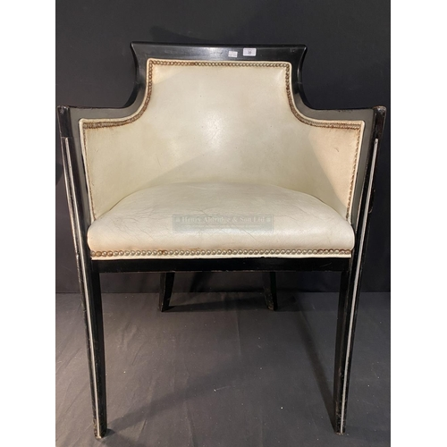 30 - CUNARD: Original Queen Elizabeth II  Queen's Grill restaurant chair with leatherette studded upholst...