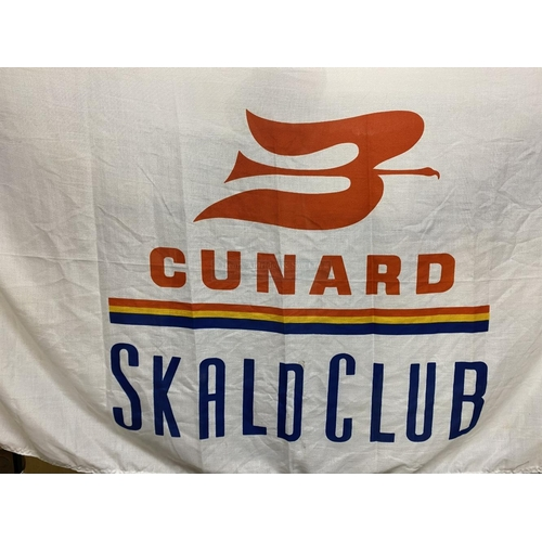 35 - OCEAN LINER: White ground Cunard 'Skald Club' flags. (2) 34ins. x 60ins.