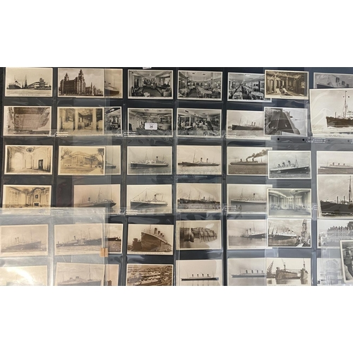 36 - OCEAN LINER: A collection of approximately fifty original black and white postcards - White Star Lin...