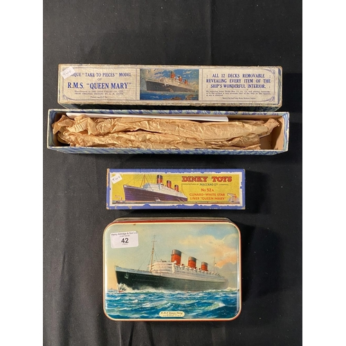 42 - OCEAN LINER: Dinky Toys No. 52A. Cunard White Star liner Queen Mary (boxed). Unique 'Take to Pieces'...