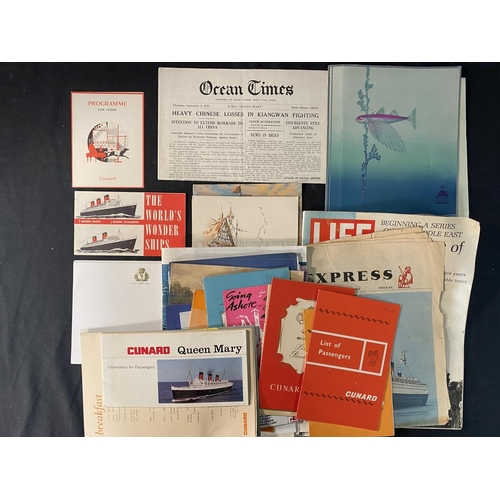 43 - CUNARD: Mixed collection of Queen Mary related printed ephemera.