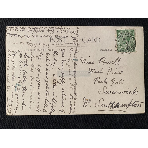 51 - R.M.S. LUSITANIA: Rare postcard dated May 5th 1915 to a Miss Powell. The card mentions George Marks ...