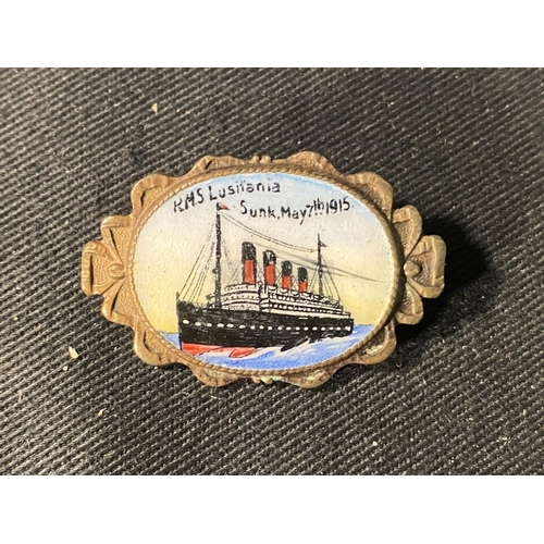 54 - CUNARD: Rare Cunard R.M.S. Lusitania post-sinking memorial brass and enamel pictorial brooch, enamel...