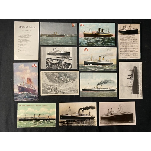 57 - OCEAN LINER: S.S. Empress of Ireland real photo and other postcards. (13)
