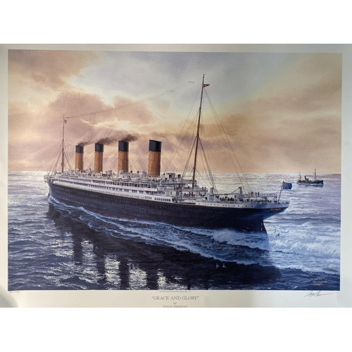 7 - R.M.S. TITANIC: 'Grace and Glory', by Tom W. Freeman, signed by the artist. 26ins. x 34ins. With cer...