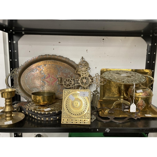 20 - 20th cent. Brass & Copper Ware: Includes trivet stand, Islamic tray, two hammered trays, bellows, su...