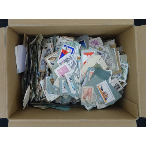 10 - Small box containing unsorted on paper ranges from Poland with much modern, condition mixed (100s)*...