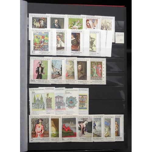 20 - Czechoslovakia and UN collection mint & used in 3 stock books including sets, condition fair to fine...