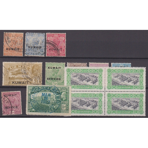 30 - Small Commonwealth selection on card comprising of Jamaica 1922 1½d green with blue Railway cancel, ...