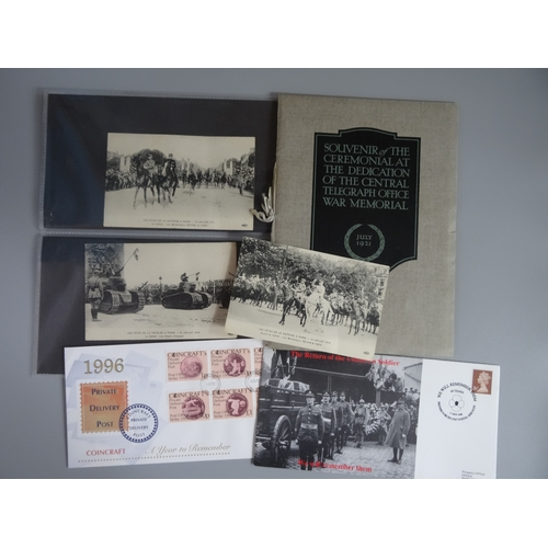 31 - Small selection including Souvenir of the Ceremonial at the Central Telegraph Office War Memorial a ...