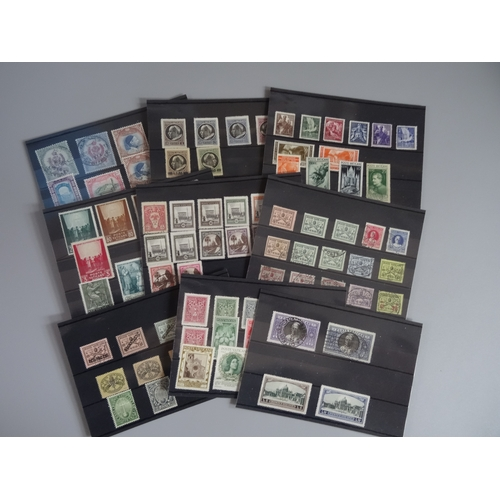 34 - Small all world selection on cards etc including Albania 1919 overprint issues used on small pieces,...