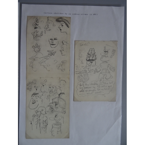 54 - A small group of eight cartoon sketches by an unknown WWII Airman including depictions of Soldiers a...