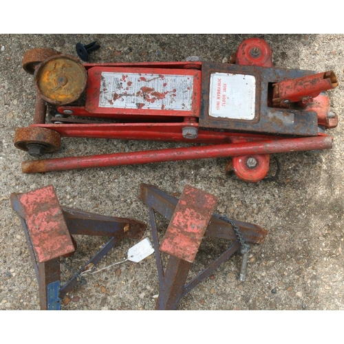 21 - Trolley jack together with a pair of axle stands...