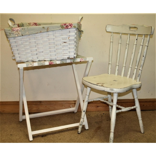 35 - White painted chair, painted suitcase stand and laundry basket....