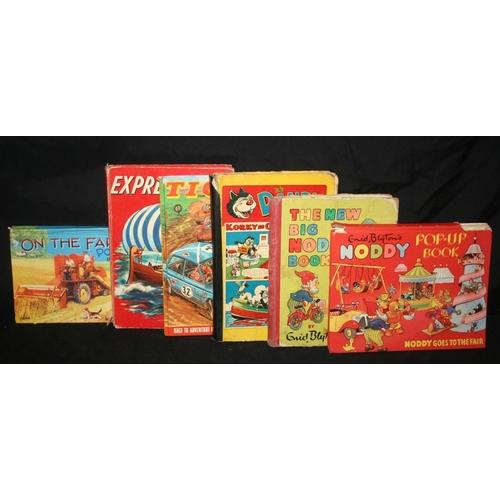 59 - 6 books to include Farm pop up book, Express Annual, Tiger 1972, Dandy Book, Big Noddy Book, Noddy p...