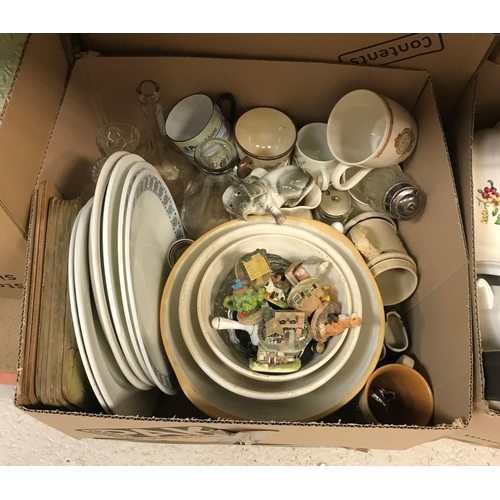 10 - Seven boxes of assorted household and decorative china to include various willow pattern dinnerwares...