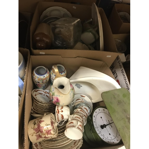 11 - Seven boxes of assorted decorative and household china wares, etc. to include toilet jugs and bowls,...