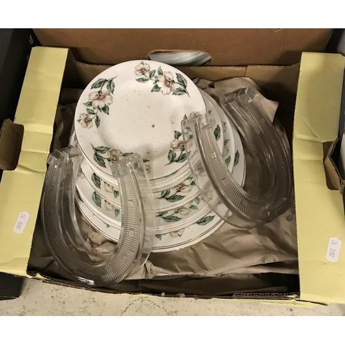 13 - A box containing assorted chinaware to include Ainsley Henley pattern dish plates and side plates, C...