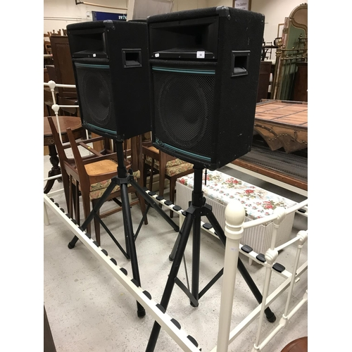 16 - A pair of AC (Audio Concepts) Pro speakers on adjustable tripod stands, 42 cm wide x 32 cm deep x 56...