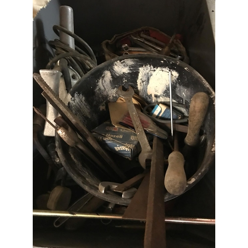 19 - A box of assorted hand tools to include spanners, planes, etc...