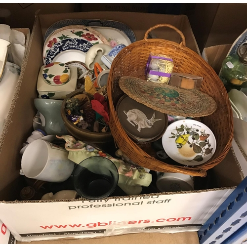 5 - Four boxes of sundry china, glass and ornamental wares to include meat plates, slop pail of baluster...